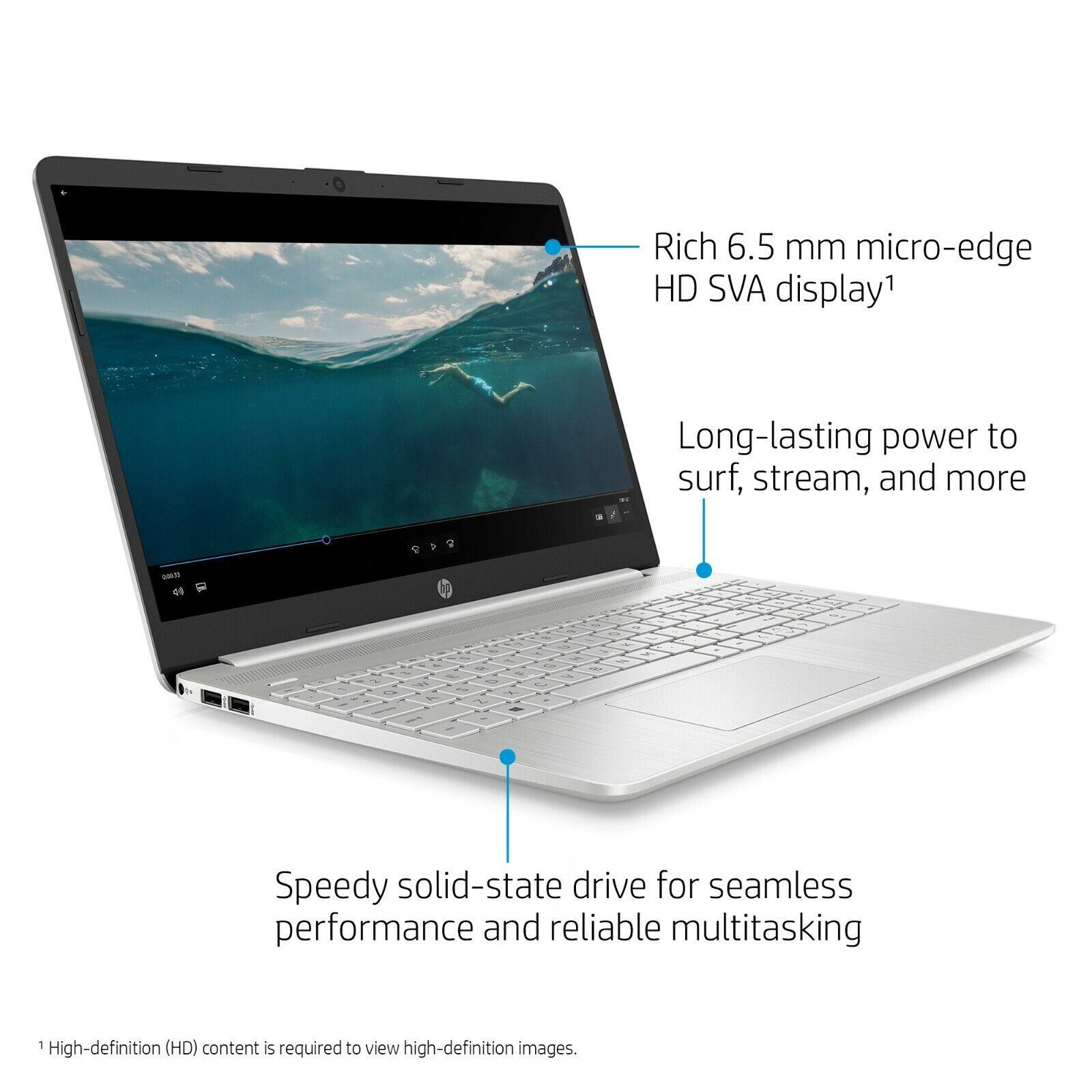 """NEW HP 15.6"""" HD Intel 10th Gen i3-1005G1 3.4GHz 256GB SSD 8G"""