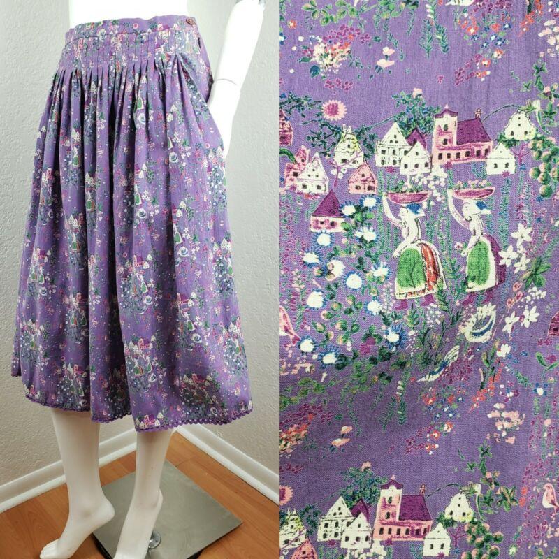 Vintage German Bavarian Trachten Skirt Dirndl Pleated Purple W 27.5 Sz M 38