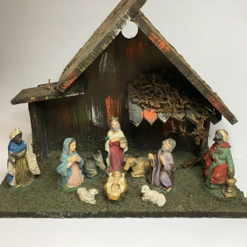Vintage Nativity Set Manger Scene Made In Italy