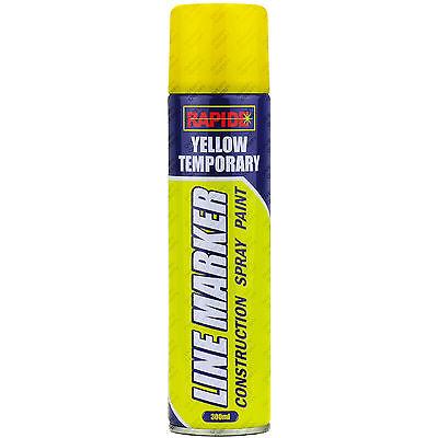 1 x Yellow Line Marker Spray Temporary Construction Paint 250ml Aerosol Can