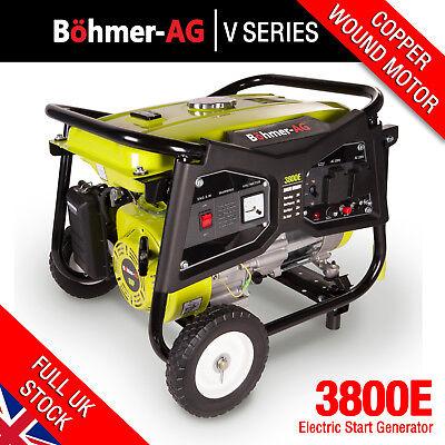 Petrol Electric Key Start Generator 3000w 3.8KVA 4 Stroke UK 8HP Bohmer WX3800E
