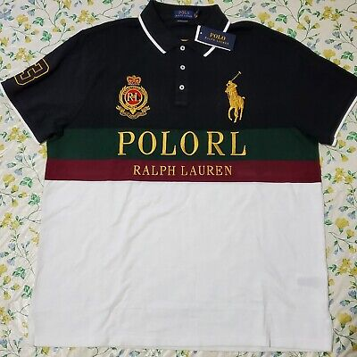 Polo Ralph Lauren Mens Custom Slim Fit Big Pony Polo Shirt White/ (White Ralph Lauren Polo)