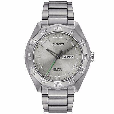 Citizen Eco-Drive Men's AW0060-54A Titanium Silver Tone 44mm Bracelet Watch