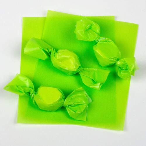"""Wax Candy Wrappers -for caramels & taffy -  Pistachio Green 4""""x5"""", 100 sheet pkg"""