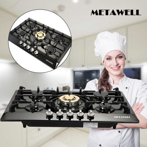 Metawell Black Titanium 30'' Burner Cooktop NG LPG Gas Hob H