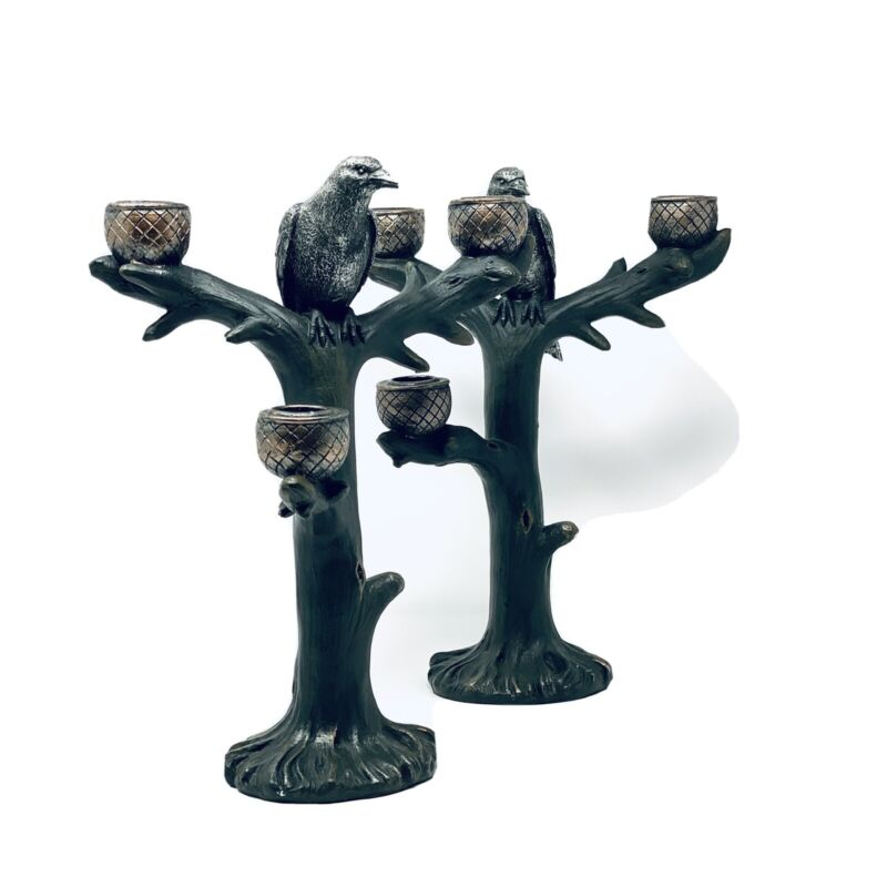 Halloween Gothic Pair Of Antiqued Silver Candelabras With Raven