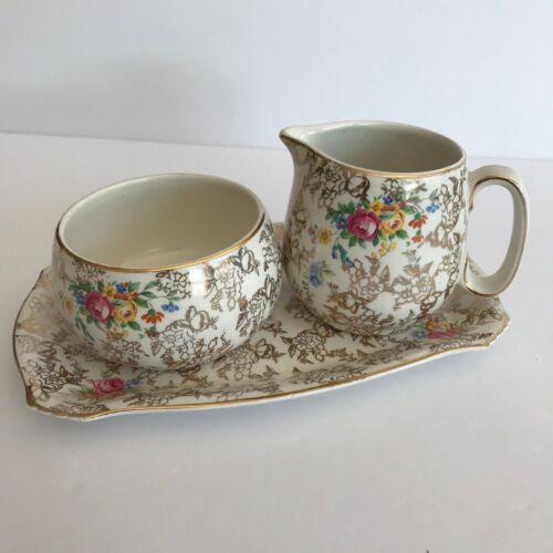 Vintage Lord Nelson BCM Ware - Creamer, Sugar Bowl, Tray - Floral Chintz # 2528