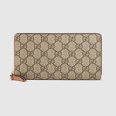 Gucci Gg Supreme Canvas & Leather Zip Around Wallet Women's