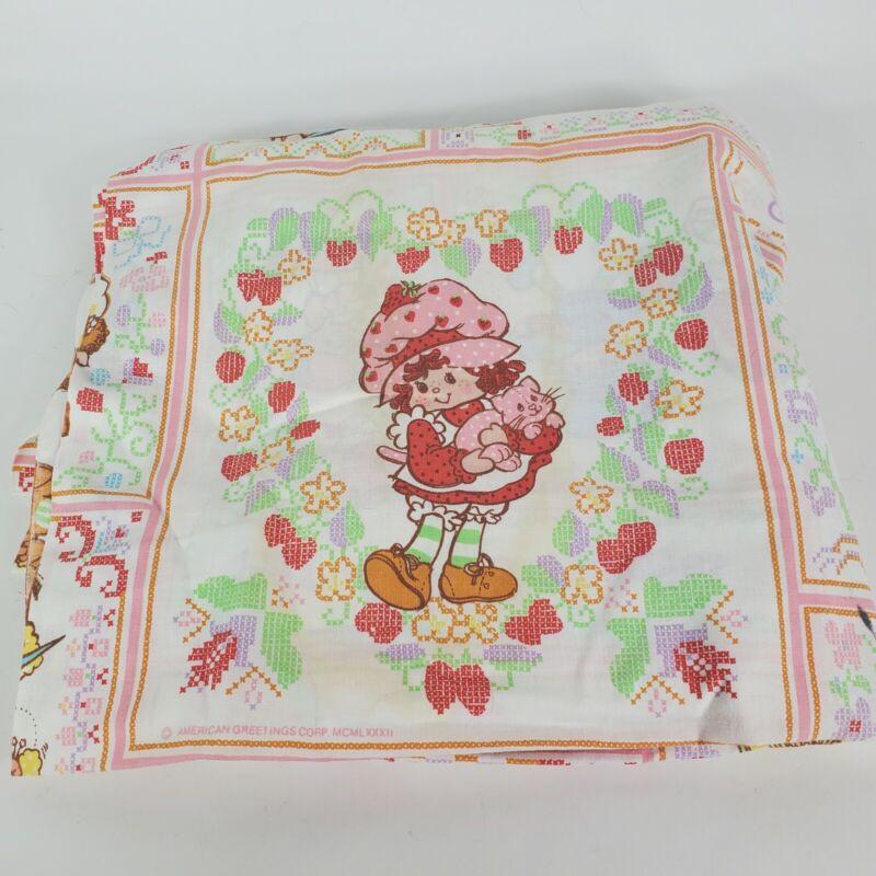 Vintage 80s Strawberry Shortcake Twin Sheet Flat Sheet Character Sheets