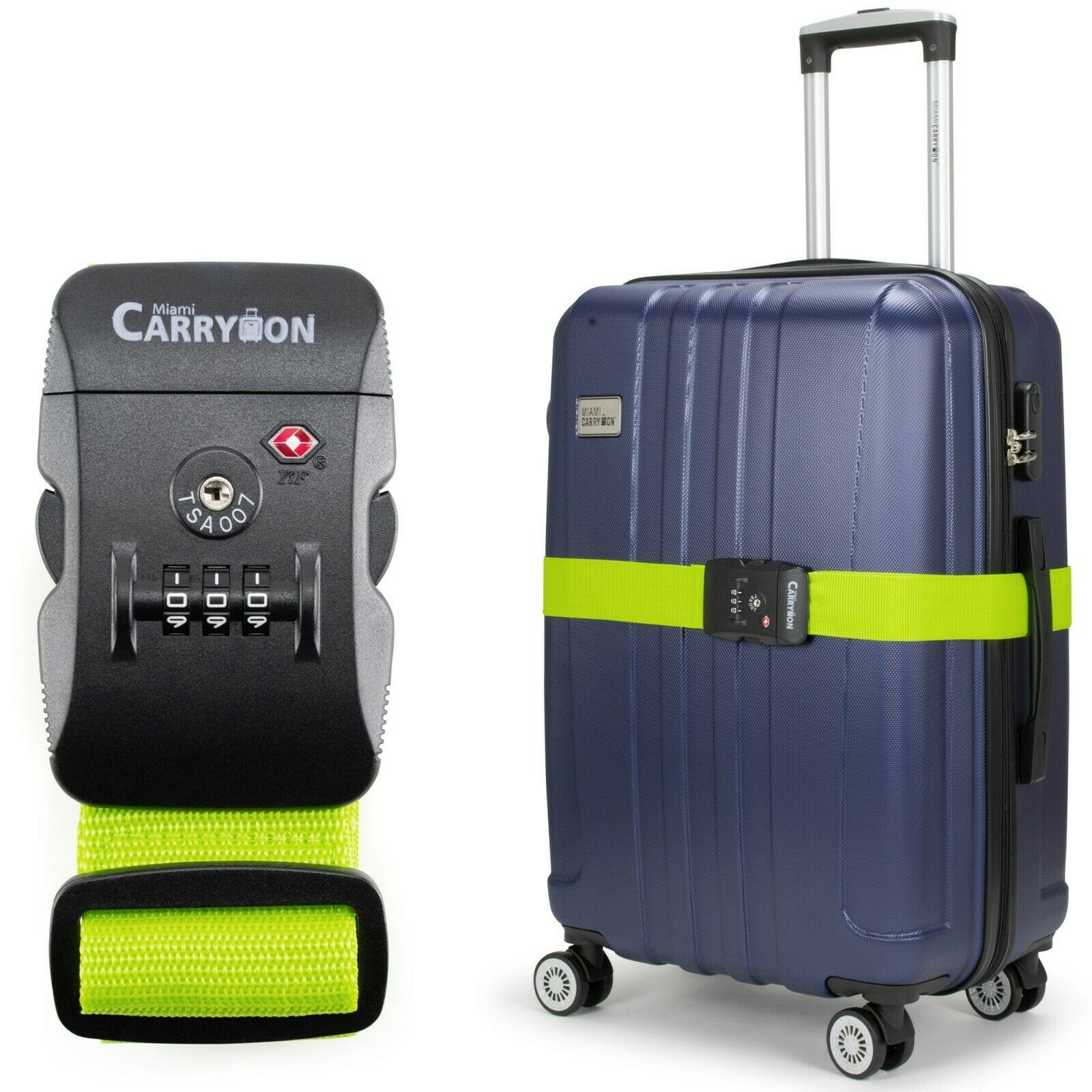 Miami CarryOn Adjustable Luggage Strap with a Built-in TSA Combination Lock Green
