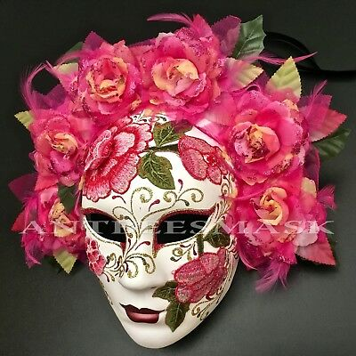 Pink Halloween Party ( Halloween White/Pink Floral Bouquet Day Of The Dead Face Skull Party Her)