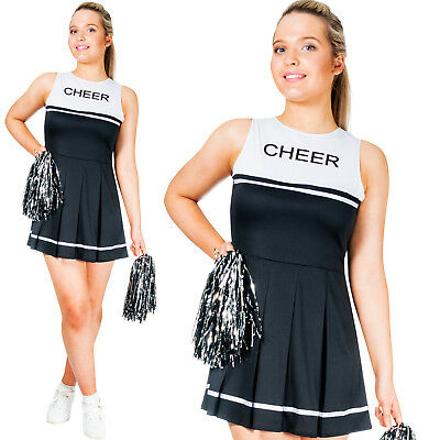 Womens Cheerleader High School Sports Uniform Fancy Dress Costume with Pom Poms - Sports Costumes For Womens