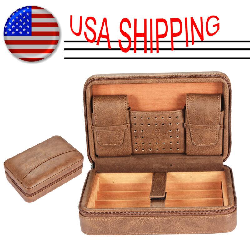 Galiner Brown Leather Cedar Lined Cigar Case Travel Cigar Humidor W/ Humidifier