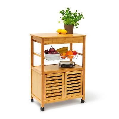 Küchenrollwagen JAMES XL Servierwagen Küchenwagen Rollwagen Beistelltisch Bambus