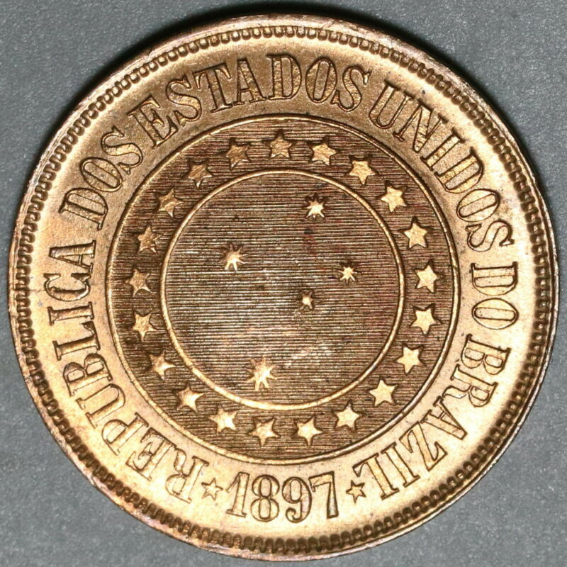 1897 Brazil 40 Reis UNC Red Coin (20041602R)