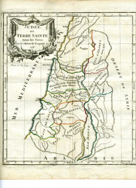 1778 Genuine Antique hand colored map Palestine. De Vaugondy