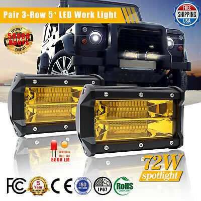 Pair 5Inch 72W Tri-Row LED Work Light Bar Spotlight 3000K Amber Fog Driving