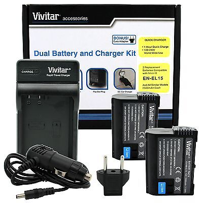 2 EN-EL15 Battery + Charger for Nikon D7200 D7100 D7000 D810 D800 D750 D610 D600