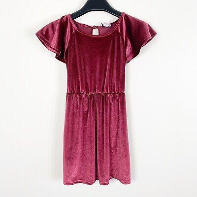 Old Navy Girl Velvet Burgundy Dress Size Small 6-7 Waist-Defined - Velvet Dress Girl