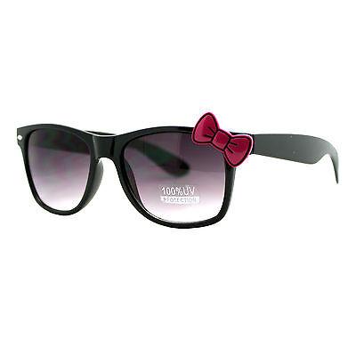 Womens Black Square Horn Rim Sunglasses Cute Pink Ribbon Decor UV 400 ()
