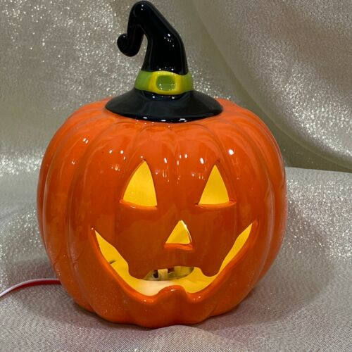 "Halloween 5"" Jack O Lantern Witch Hat Orange Light-Up Ceramic Pumpkin  New"