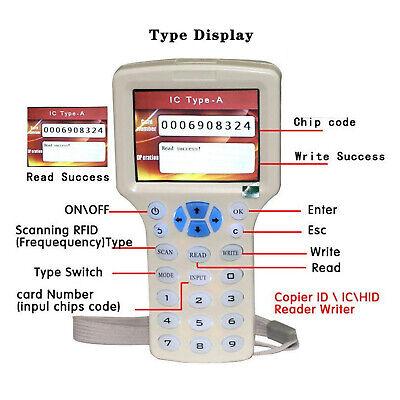 Rfid Card Reader Duplicator Programmer For Cards Id-125 250 750 Hid-125khz.