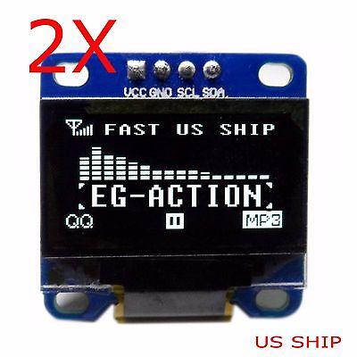 2x 0.96 I2c Iic Serial 128x64 Led Oled Lcd Display Module For Arduino