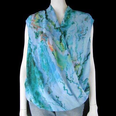 Sleeveless Chiffon Top with Cami S Draped Cross-Over Bubble Hem  Watercolor NEW