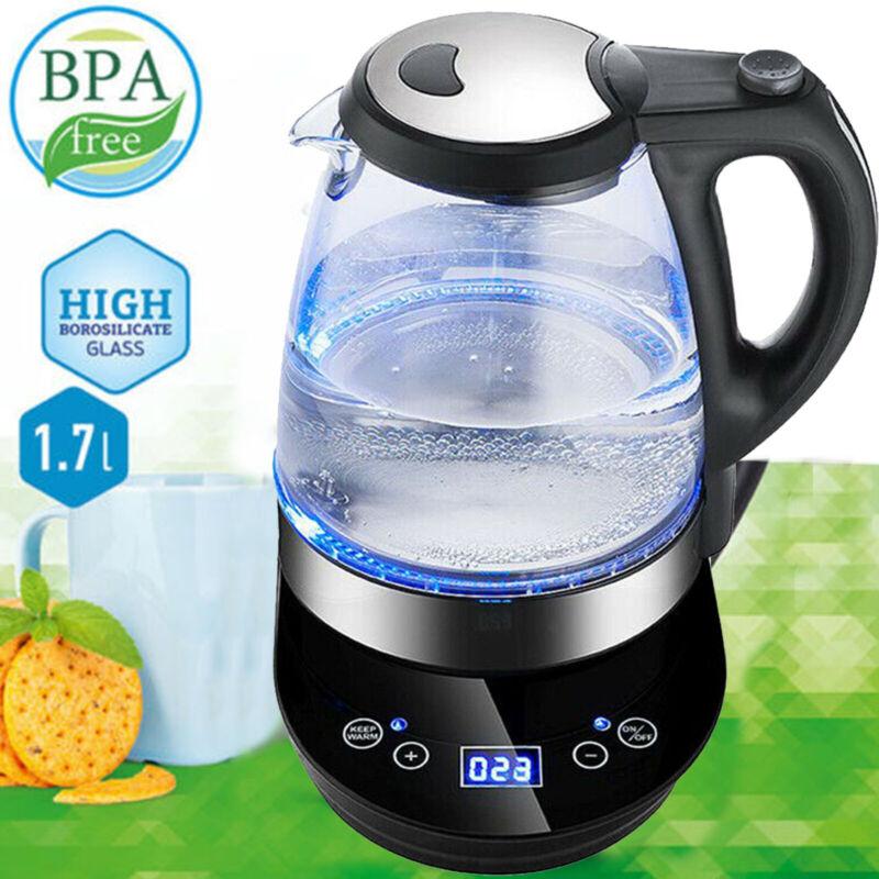 1,7L Glas Wasserkocher mit Temperaturwahl 20-100℃ Warmhaltefunktion LED