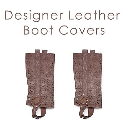 Women's Brown Leather Boot Covers Ornate Fractal Design Chic Pretty Lady - Brown Boot Covers