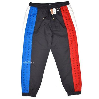 NWT MCM x Puma Men's Red White Blue Monogram Logo Track Suit Pants XL AUTHENTIC