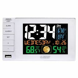 C87061 La Crosse Technology Dual Alarm Clock with USB Charging Port - White NIB