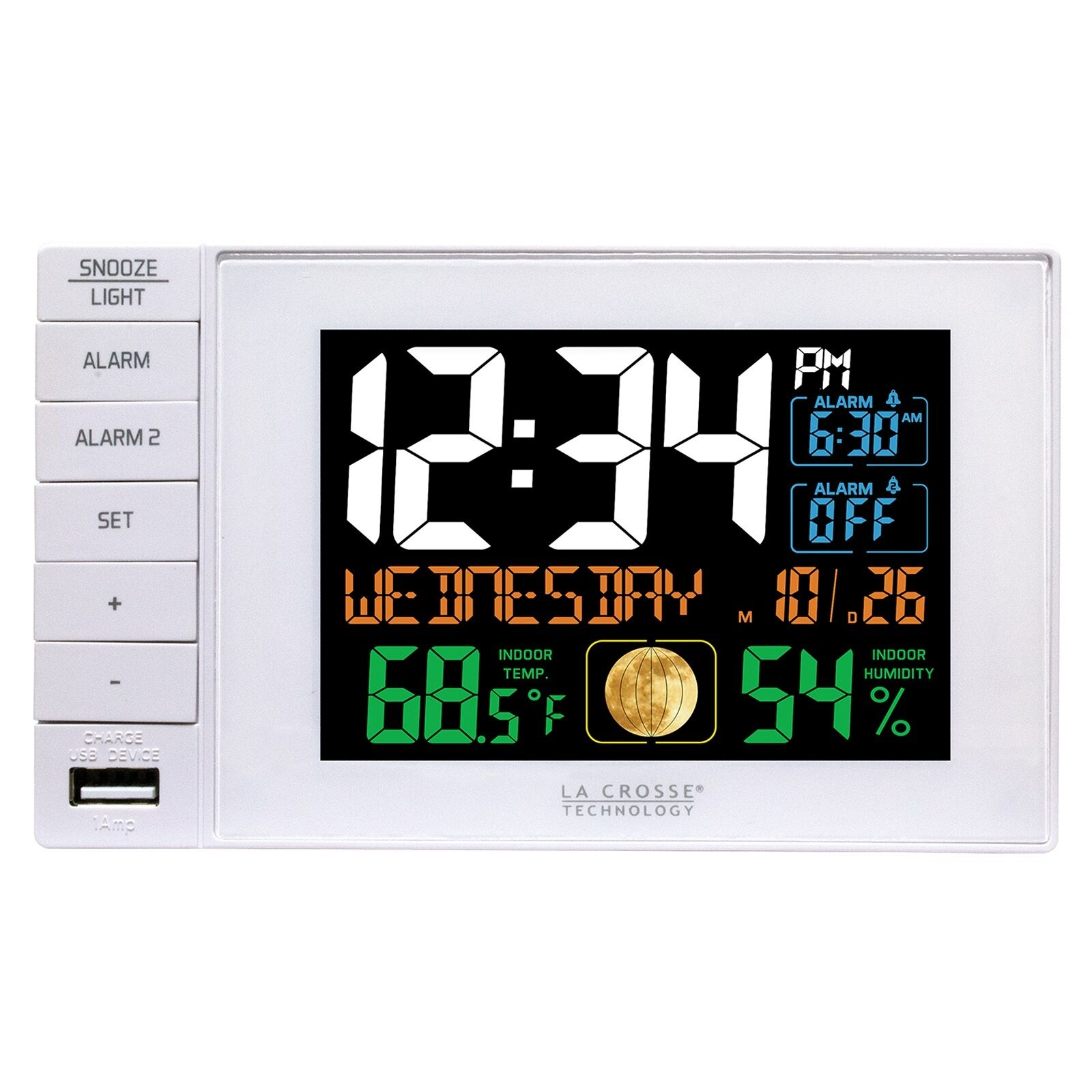 C87061 La Crosse Technology Dual Alarm Clock with USB Charging Port Refurbished