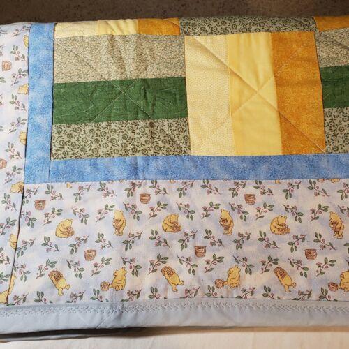 Vintage Winnie the Pooh style Quilted Baby Blanket Handmade