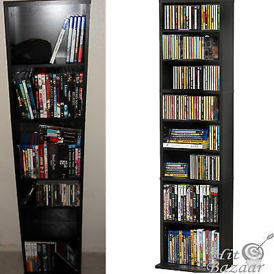Media Storage Cabinet CD Shelf DVD Tower Rack Stand Holder Multimedia Organizer