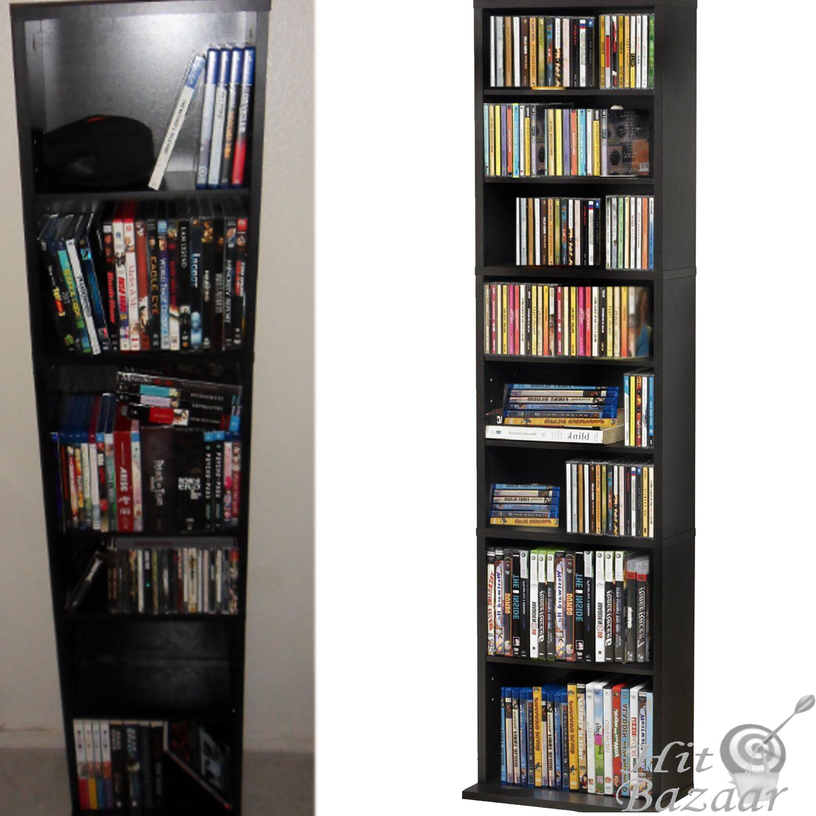 Marvelous Atlantic Media Cabinet Cd/dvd/game/book Holder Display Furniture Shelf Rack  Wall