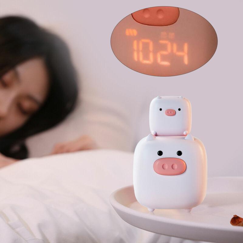 Bedside Alarm Clock W/ Night Light Cute Pink USB Digital Clock Timing Setting