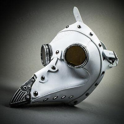 WHITE Steampunk Face Mask Plague Doctor Long Nose Masquerade Halloween Costume