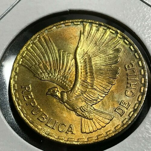 1967  CHILE 10 CENTAVOS BRILLIANT UNCIRCULATED PRETTY TONING