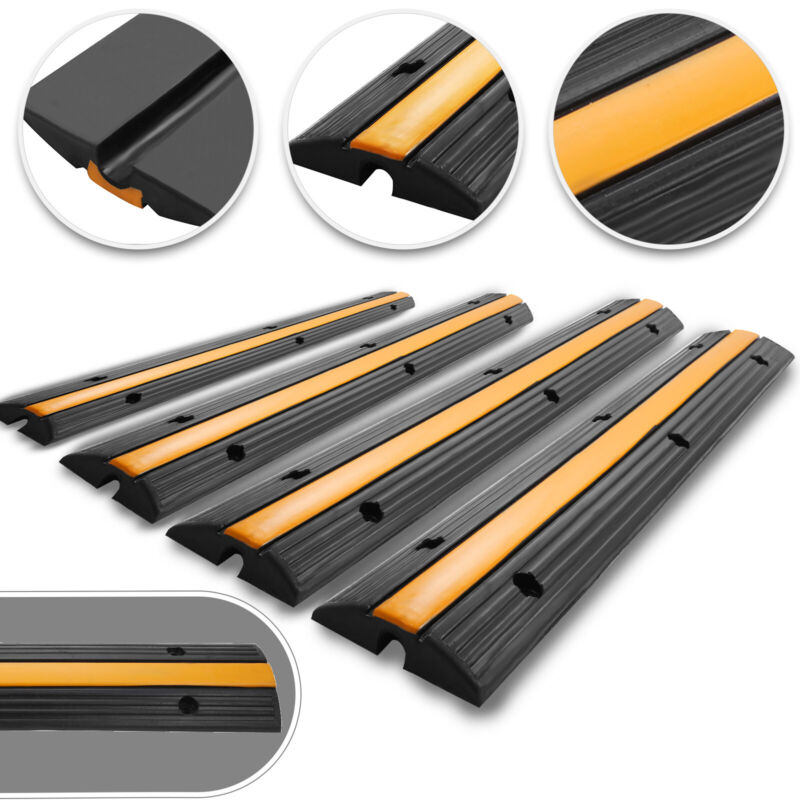 4pcs 1-Channel Rubber Electrical Wire Cable Cover Ramp Guard Cord Protector