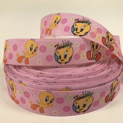 "By The Yard 1"" Cute Tweety Bird Grosgrain Ribbon Hair Bows Scrapbooking Lisa"