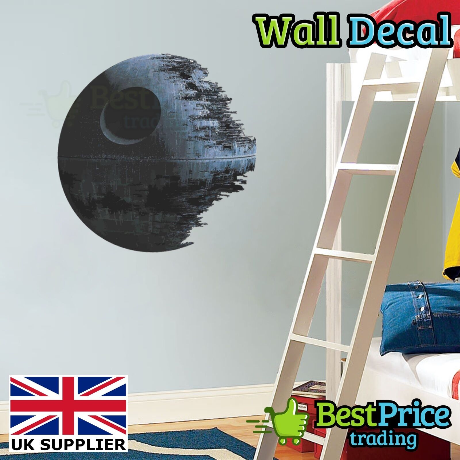 Star wars death star vinyl wall decal sticker home decor for Death star wall mural