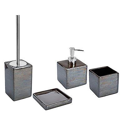 Set 4 accessori bagno da appoggio in ceramica fango e acciaio inox serie Cuba