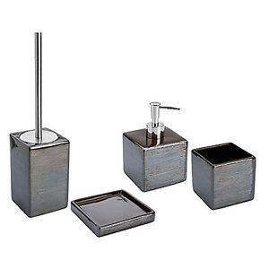 Set 4 accessori bagno da appoggio in ceramica fango e acciaio inox serie cuba ebay - Accessori bagno inox ...