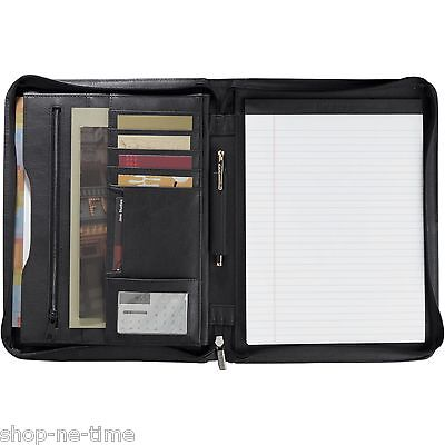 Leeds Millennium Genuine Top Grain Black Leather Zippered Padfolio - New