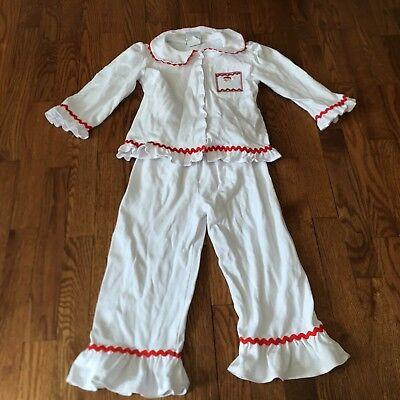 Castles And Crowns Girls White Knit Pajamas Christmas Pajamas Smocked Santa Sz 6 - Smocked Christmas Pajamas