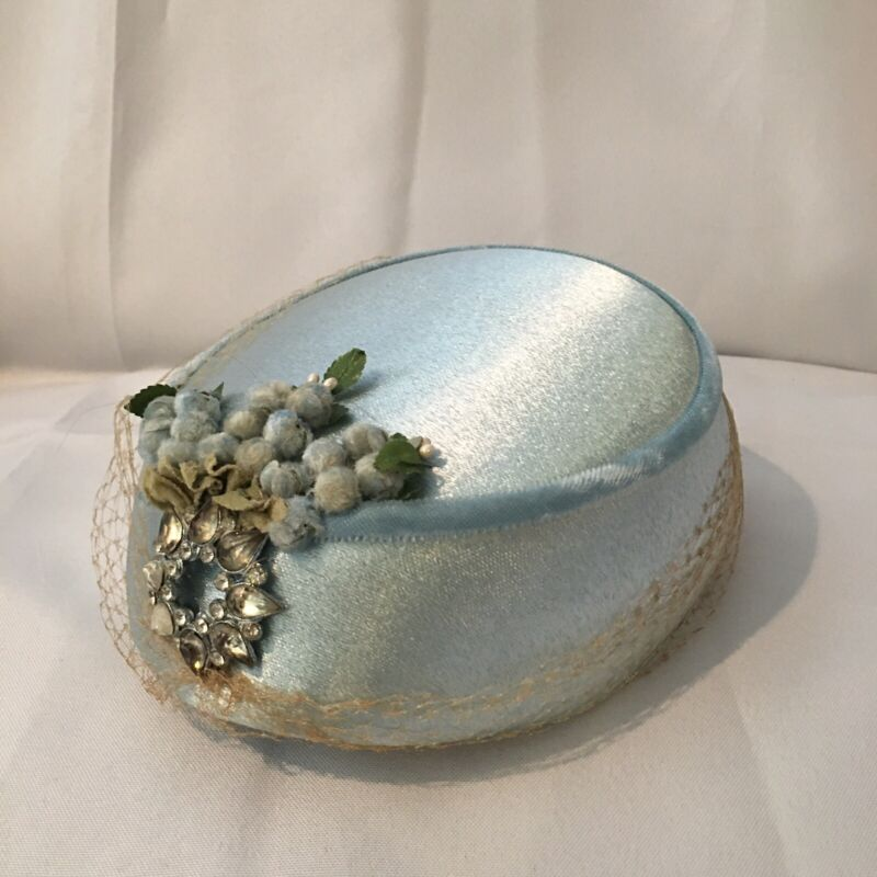 Blue Pillbox Hat with Rhinestones and Millinery Flowers Vintage