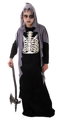FANCY DRESS KIDS SKELTON GRIM REAPER  HALLOWEEN OUTFIT BEST-DRESSED - Best Grim Reaper Costume