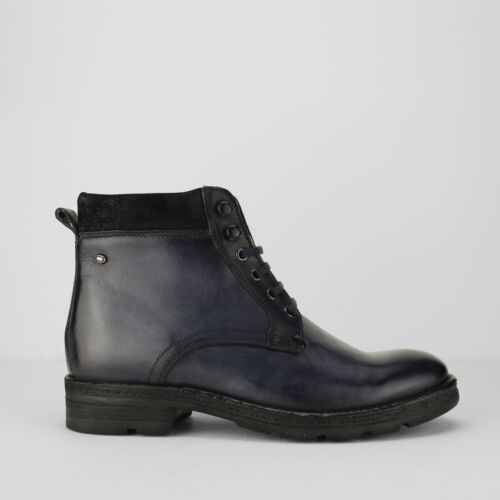 b05e7437992 Details about Base London PANZER Mens Washed Leather High Grip Lace Up  Comfy Work Boots Blue