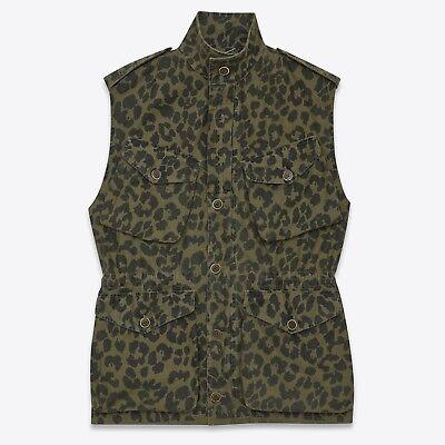 SAINT LAURENT Army Sleeveless Parka Vest Khaki Leopard Printed Cotton Size FR 36